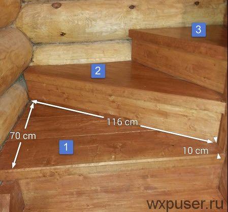 размеры ступеней лестницы на повороте