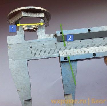 измерять внутренний диаметр штангенциркулем
