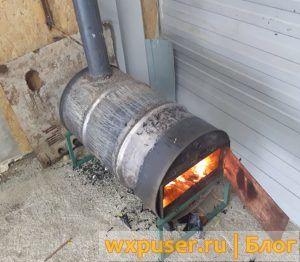 Печка для гаража своими руками на дровах из бочки